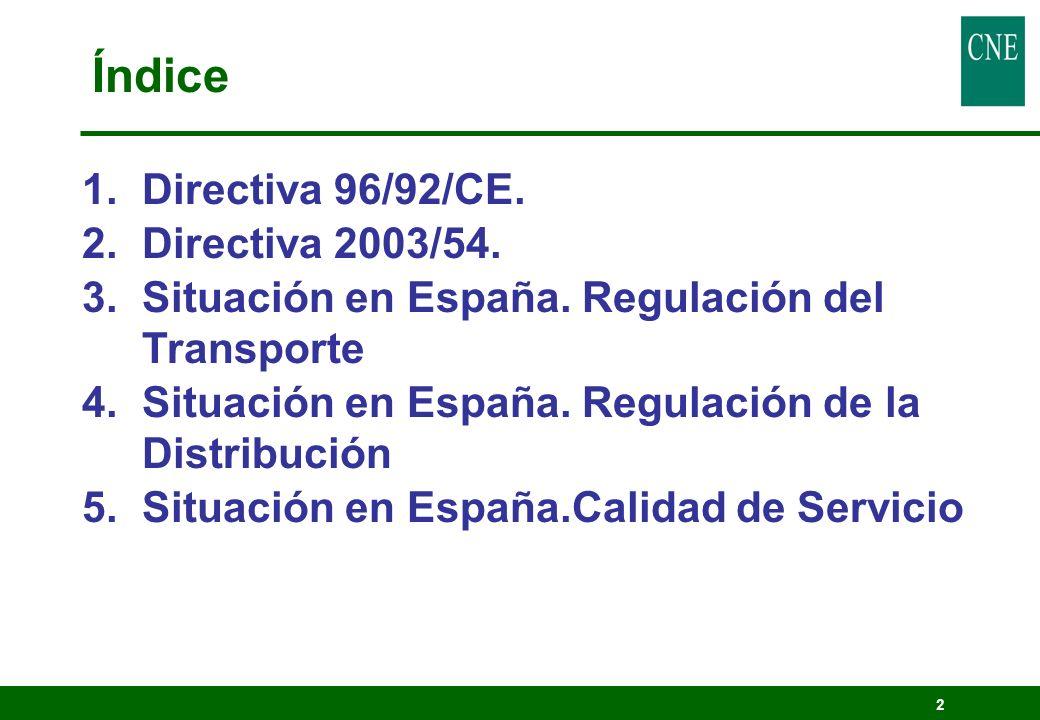 Índice Directiva 96/92/CE. Directiva 2003/54.