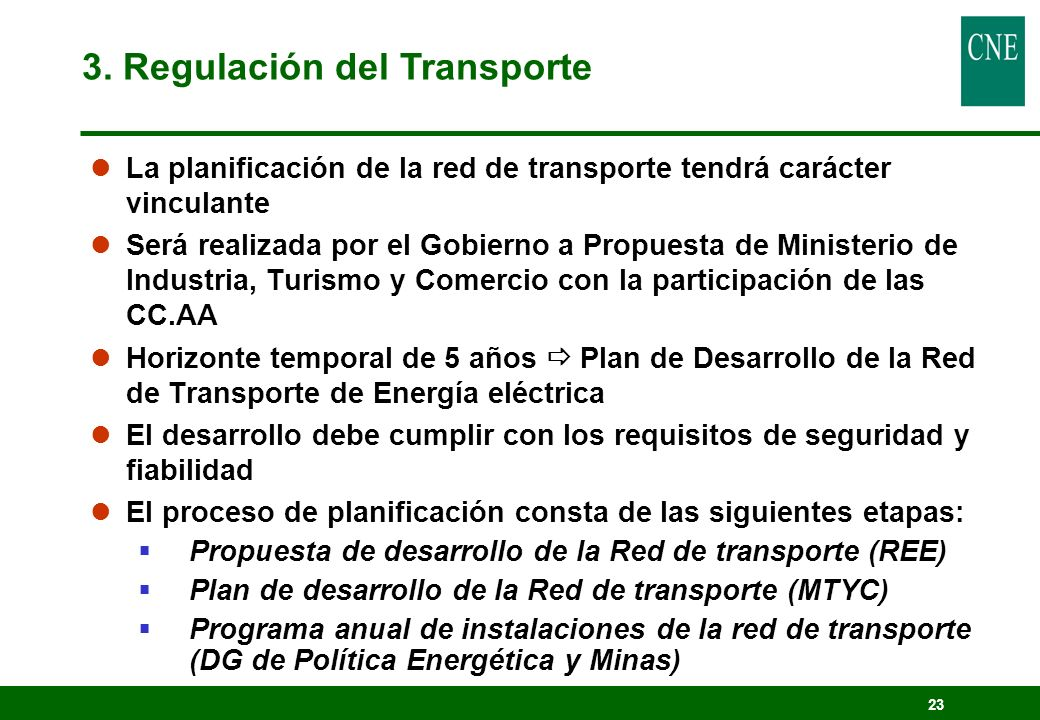 3. Regulación del Transporte