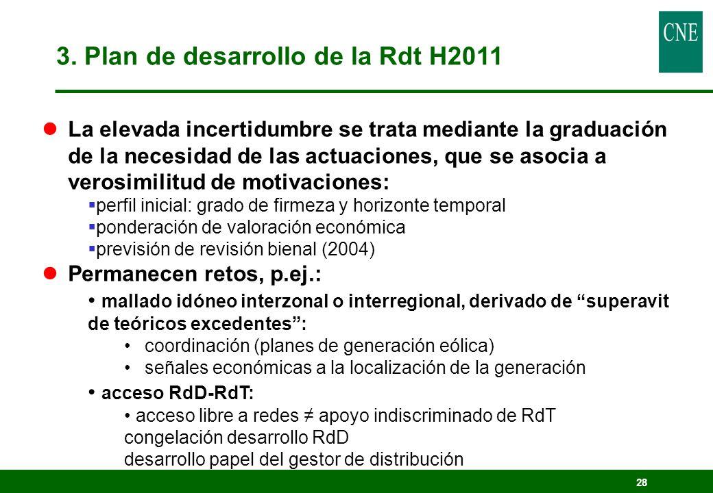 3. Plan de desarrollo de la Rdt H2011