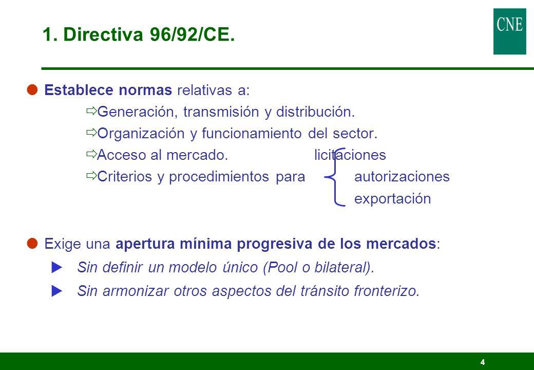 1. Directiva 96/92/CE. Establece normas relativas a:
