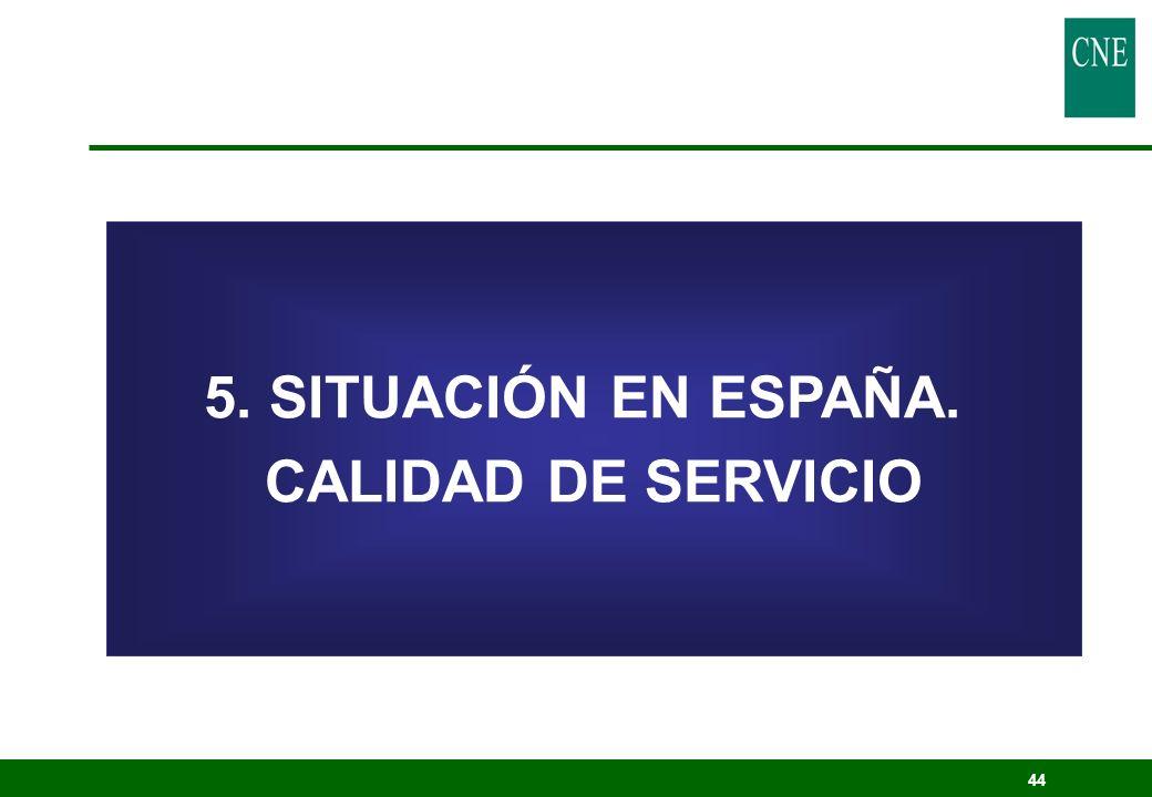 5. SITUACIÓN EN ESPAÑA. CALIDAD DE SERVICIO