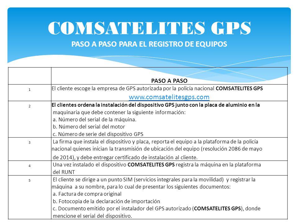COMSATELITES GPS PASO A PASO PARA EL REGISTRO DE EQUIPOS
