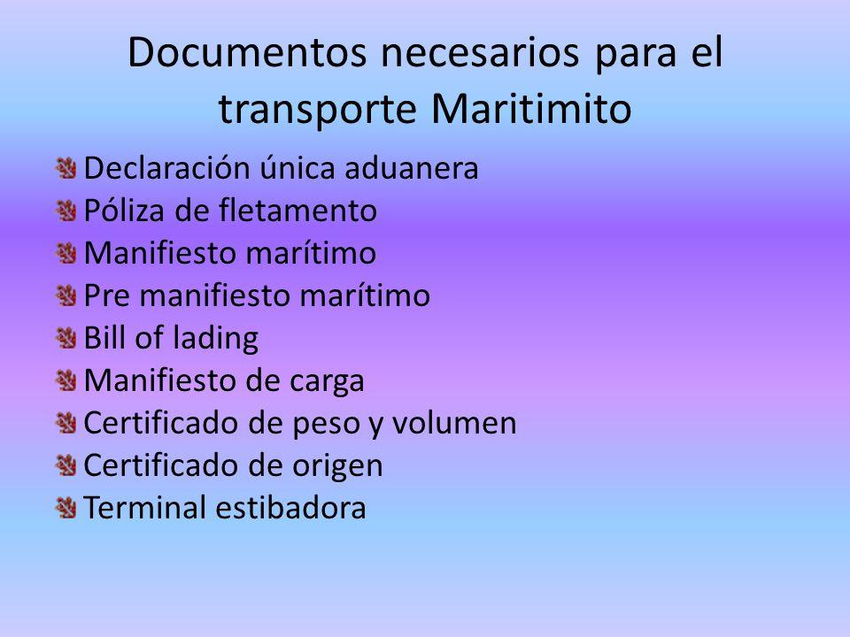 Documentos necesarios para el transporte Maritimito