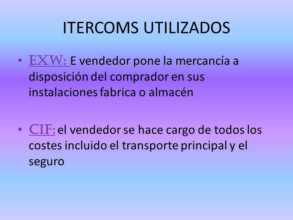 ITERCOMS UTILIZADOS EXW: E vendedor pone la mercancía a disposición del comprador en sus instalaciones fabrica o almacén.
