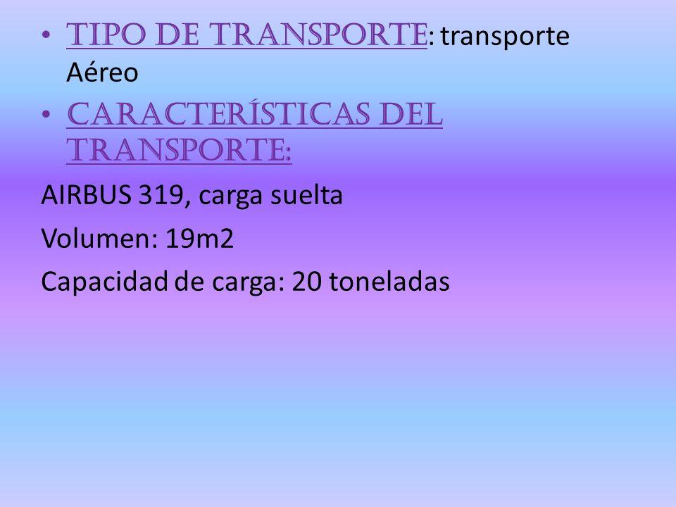 Tipo de transporte: transporte Aéreo