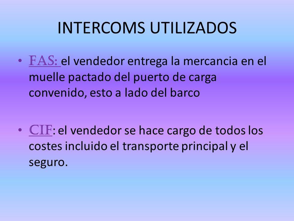 INTERCOMS UTILIZADOS FAS: el vendedor entrega la mercancia en el muelle pactado del puerto de carga convenido, esto a lado del barco.