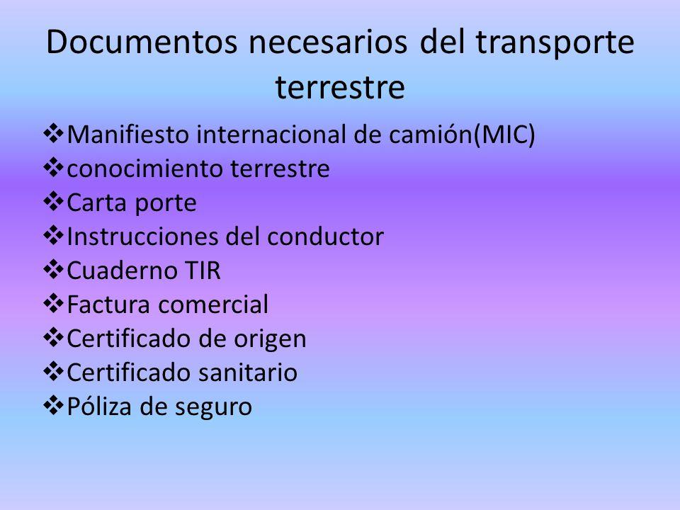 Documentos necesarios del transporte terrestre