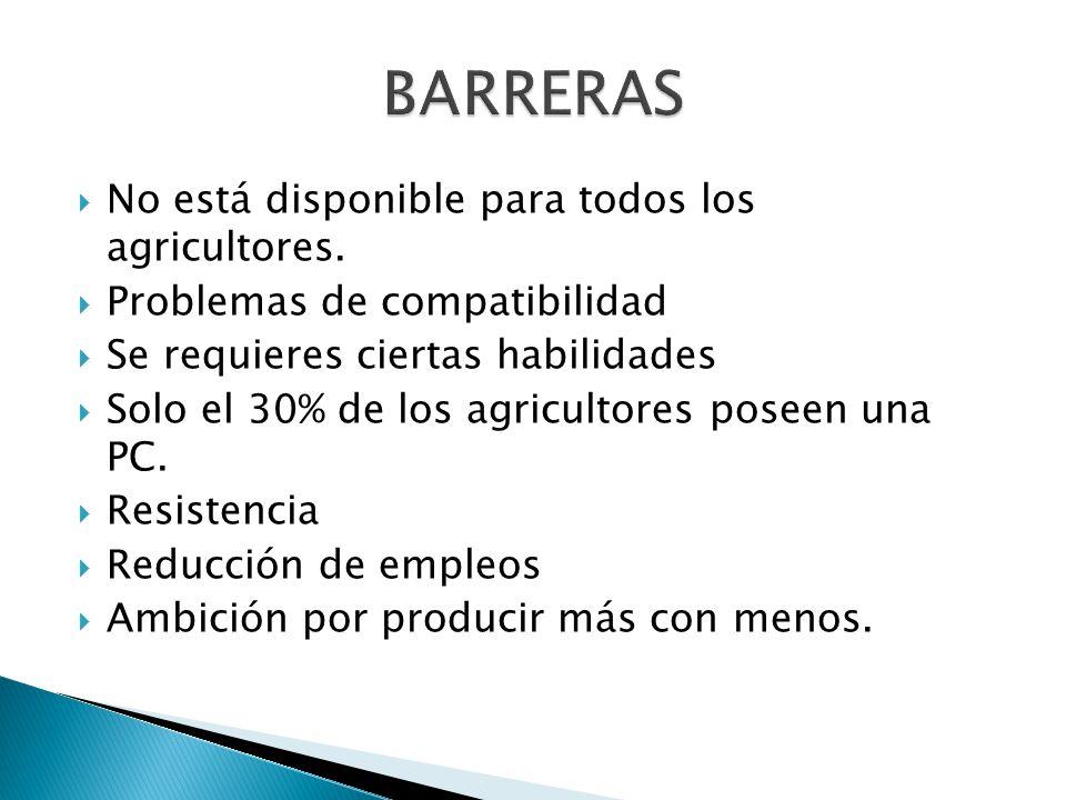 BARRERAS No está disponible para todos los agricultores.