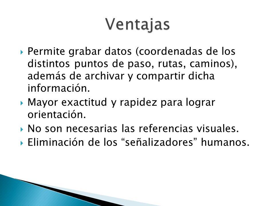 Ventajas Permite grabar datos (coordenadas de los distintos puntos de paso, rutas, caminos), además de archivar y compartir dicha información.