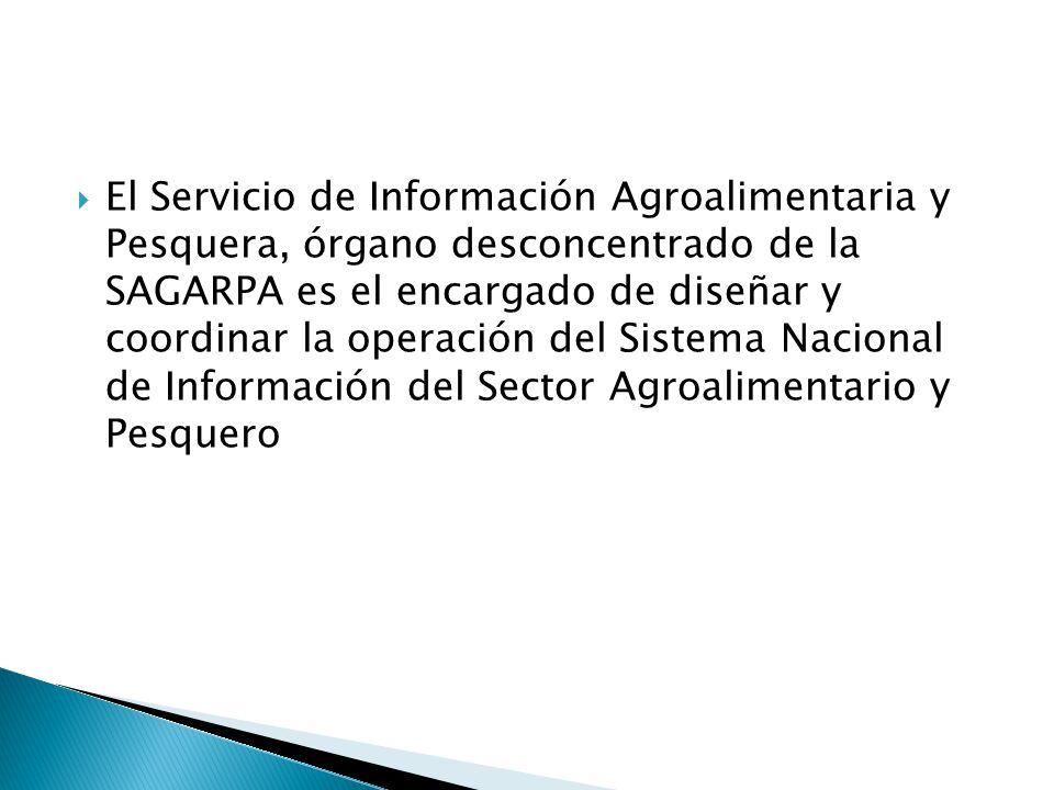 El Servicio de Información Agroalimentaria y Pesquera, órgano desconcentrado de la SAGARPA es el encargado de diseñar y coordinar la operación del Sistema Nacional de Información del Sector Agroalimentario y Pesquero