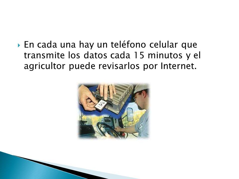 En cada una hay un teléfono celular que transmite los datos cada 15 minutos y el agricultor puede revisarlos por Internet.