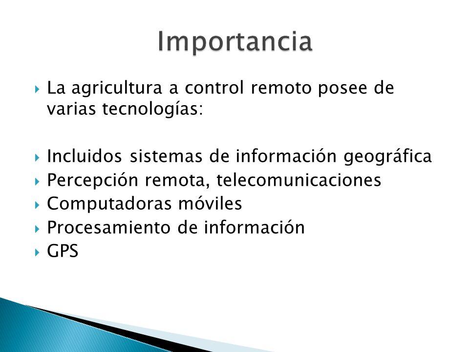 Importancia La agricultura a control remoto posee de varias tecnologías: Incluidos sistemas de información geográfica.