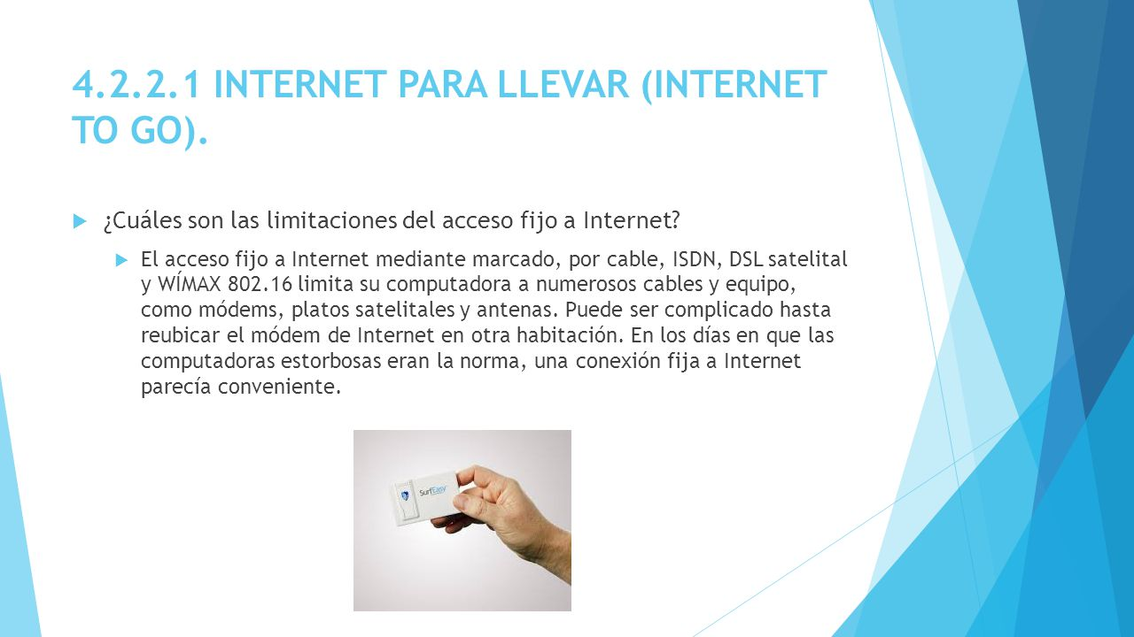4.2.2.1 INTERNET PARA LLEVAR (INTERNET TO GO).