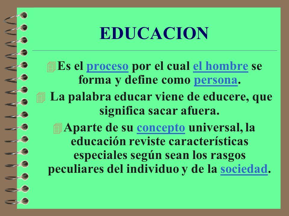 EDUCACION Es el proceso por el cual el hombre se forma y define como persona. La palabra educar viene de educere, que significa sacar afuera.