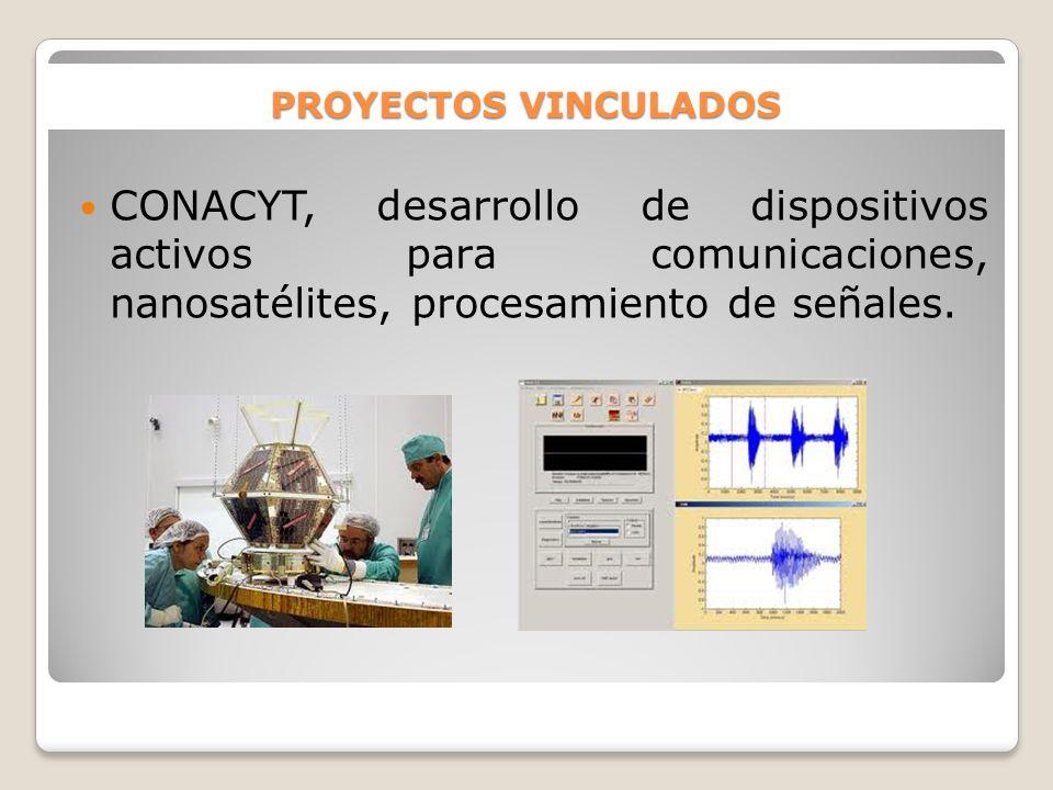 PROYECTOS VINCULADOS CONACYT, desarrollo de dispositivos activos para comunicaciones, nanosatélites, procesamiento de señales.