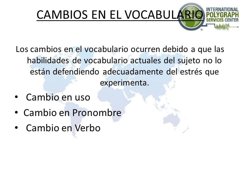 CAMBIOS EN EL VOCABULARIO