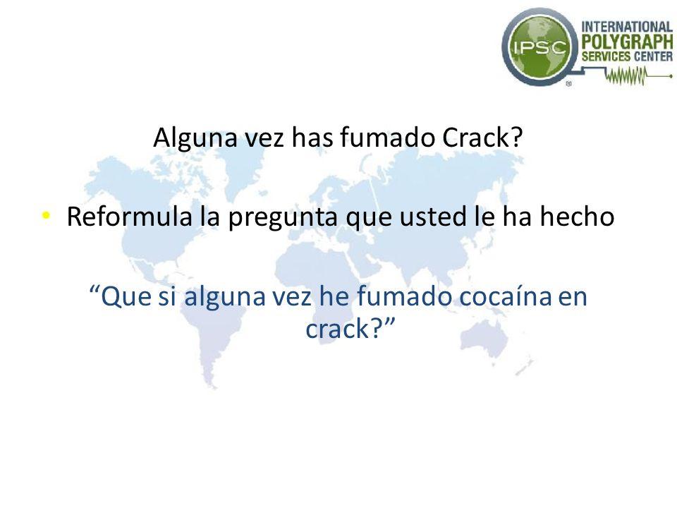 Alguna vez has fumado Crack