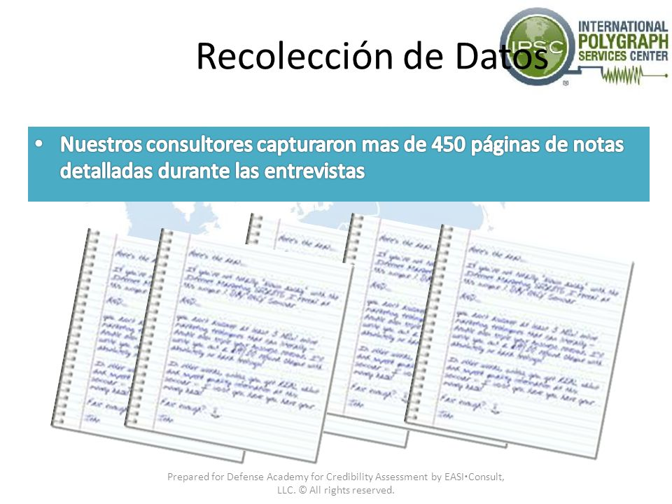 Recolección de Datos Nuestros consultores capturaron mas de 450 páginas de notas detalladas durante las entrevistas.