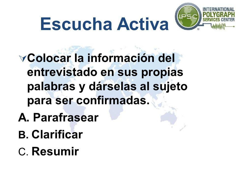 Escucha Activa Colocar la información del entrevistado en sus propias palabras y dárselas al sujeto para ser confirmadas.