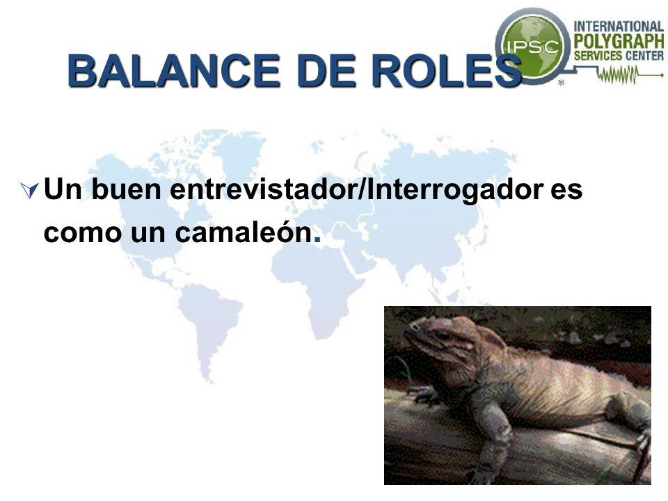 BALANCE DE ROLES Un buen entrevistador/Interrogador es como un camaleón.