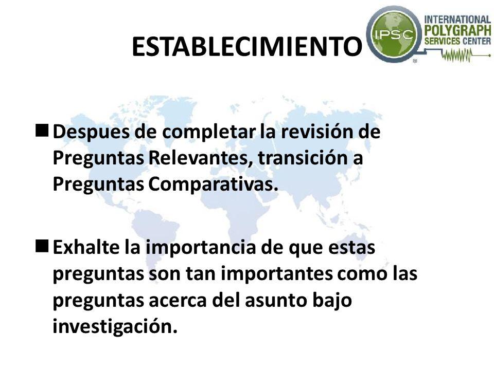 ESTABLECIMIENTO Despues de completar la revisión de Preguntas Relevantes, transición a Preguntas Comparativas.