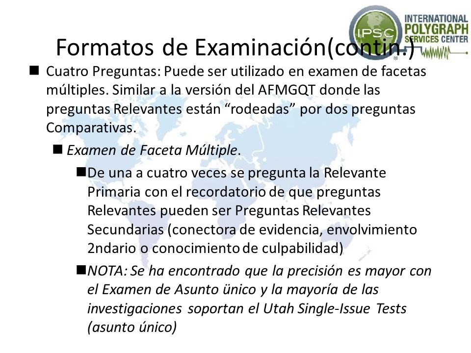 Formatos de Examinación(contin.)