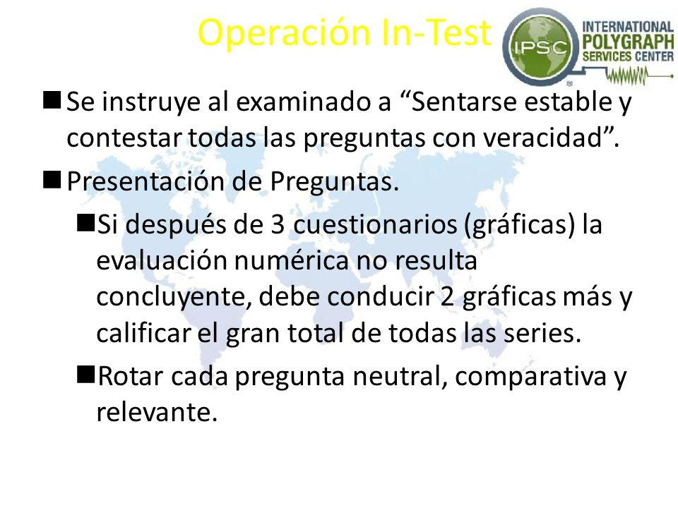 Operación In-Test Se instruye al examinado a Sentarse estable y contestar todas las preguntas con veracidad .