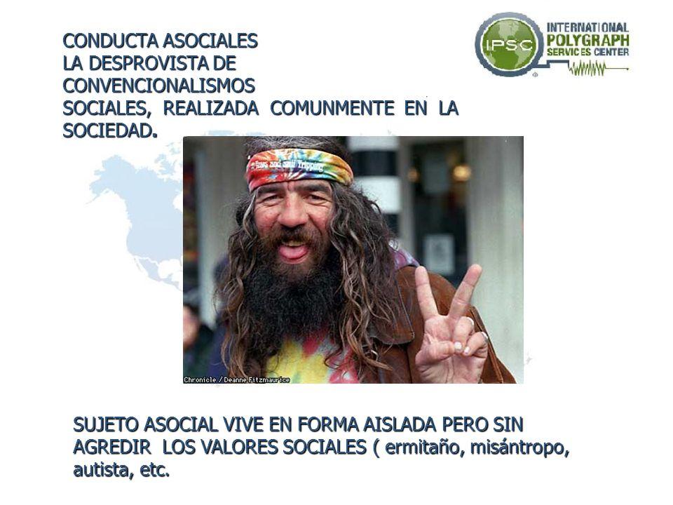 CONDUCTA ASOCIALESLA DESPROVISTA DE. CONVENCIONALISMOS. SOCIALES, REALIZADA COMUNMENTE EN LA. SOCIEDAD.