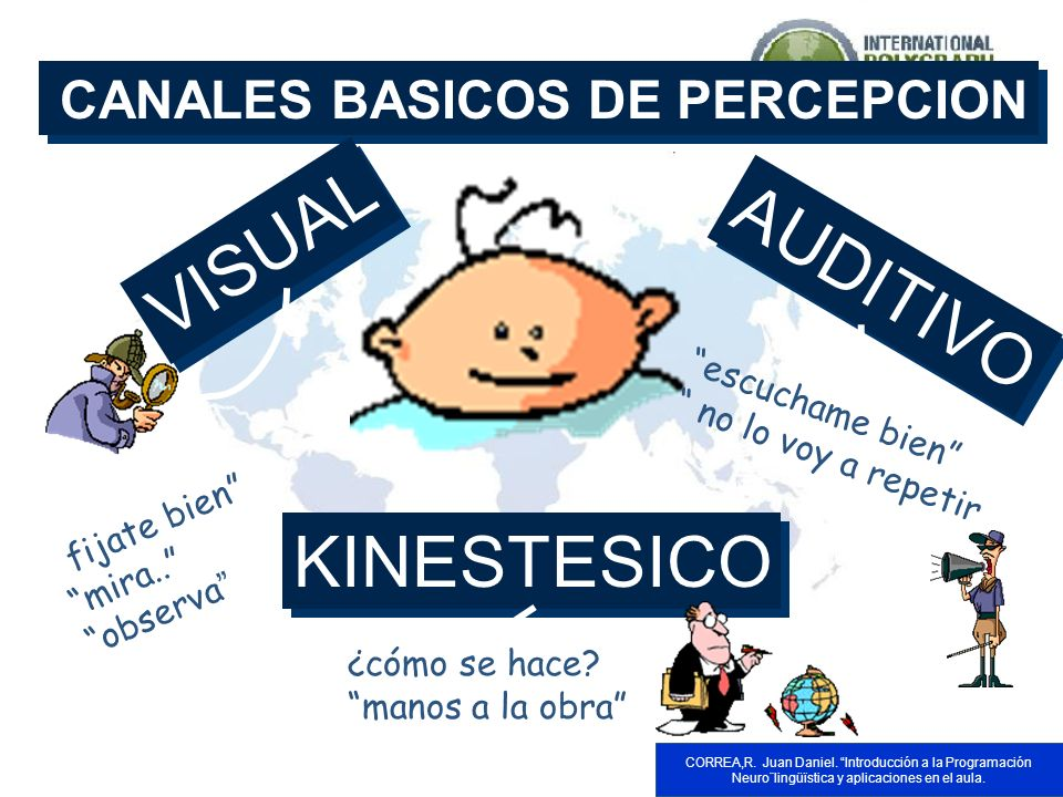 VISUAL AUDITIVO KINESTESICO CANALES BASICOS DE PERCEPCION