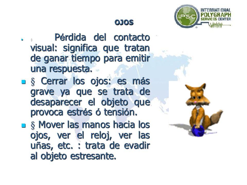 OJOS§ Pérdida del contacto visual: significa que tratan de ganar tiempo para emitir una respuesta.