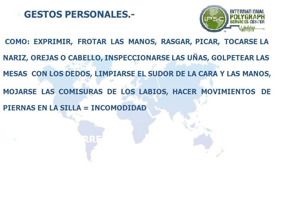 GESTOS PERSONALES.- 8 GESTOS DE ARREGLO.-