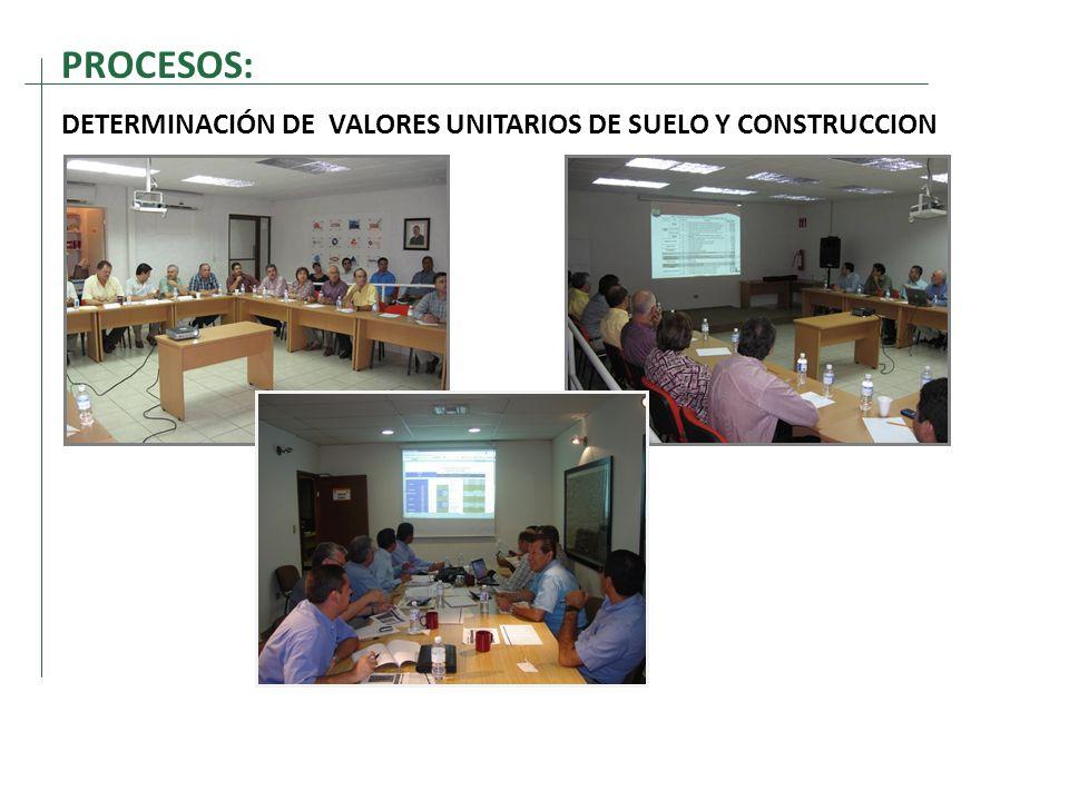 PROCESOS: DETERMINACIÓN DE VALORES UNITARIOS DE SUELO Y CONSTRUCCION
