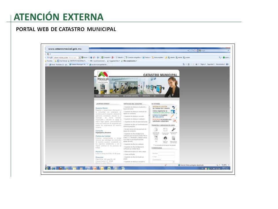 ATENCIÓN EXTERNA PORTAL WEB DE CATASTRO MUNICIPAL