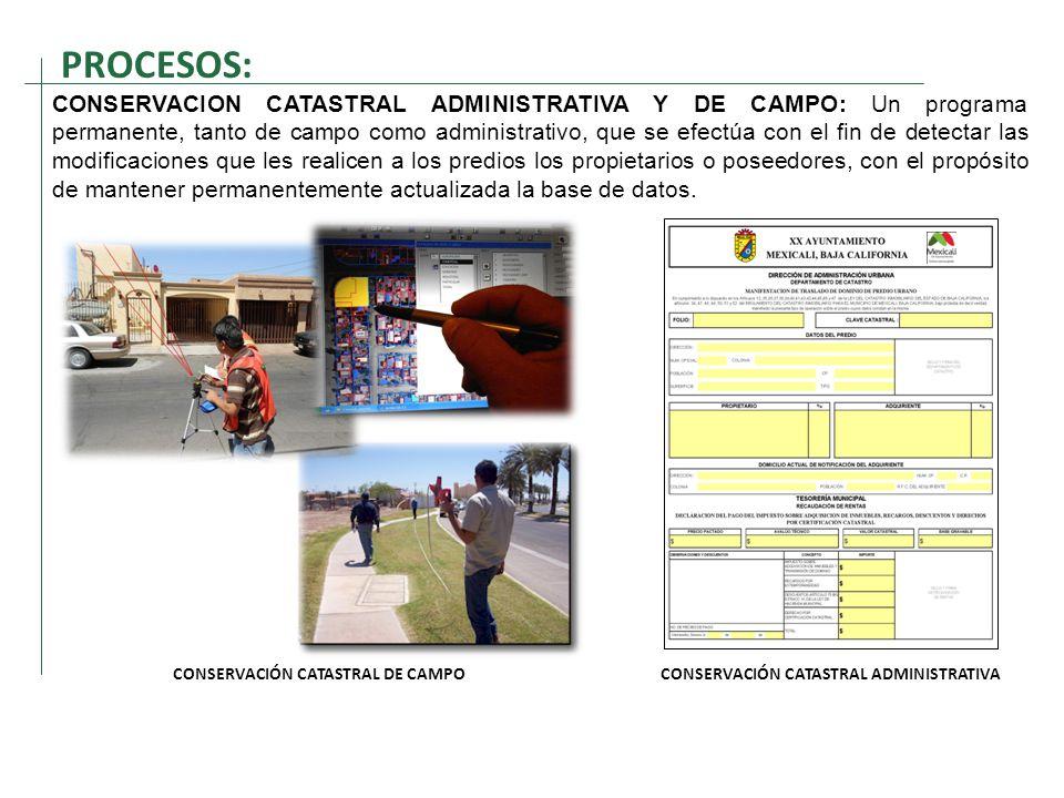 CONSERVACIÓN CATASTRAL DE CAMPO CONSERVACIÓN CATASTRAL ADMINISTRATIVA