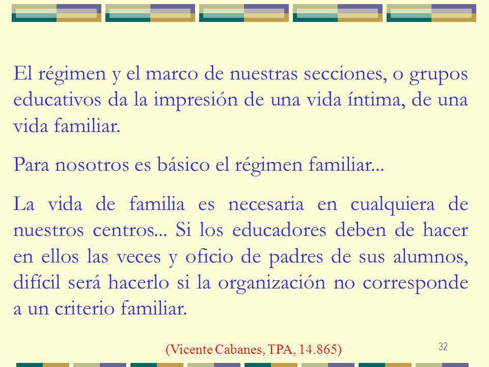 El régimen y el marco de nuestras secciones, o grupos educativos da la impresión de una vida íntima, de una vida familiar.