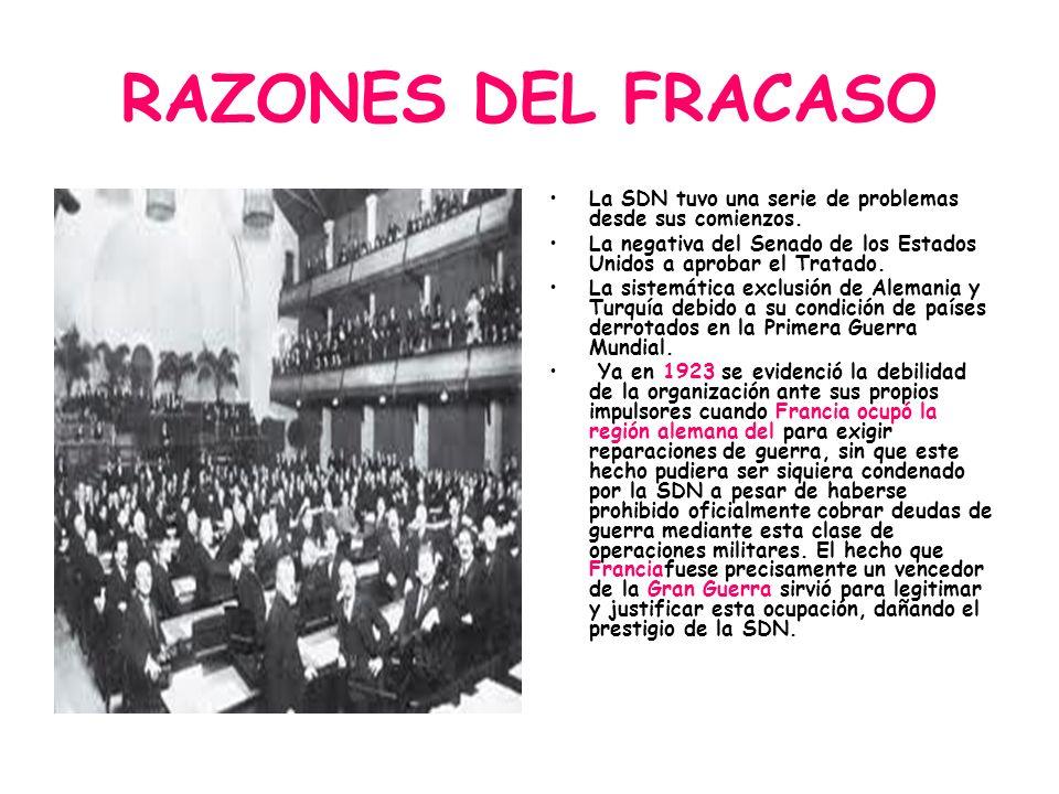 RAZONES DEL FRACASOLa SDN tuvo una serie de problemas desde sus comienzos. La negativa del Senado de los Estados Unidos a aprobar el Tratado.