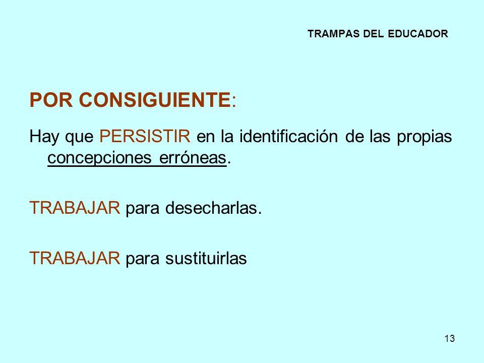 TRAMPAS DEL EDUCADOR POR CONSIGUIENTE: Hay que PERSISTIR en la identificación de las propias concepciones erróneas.