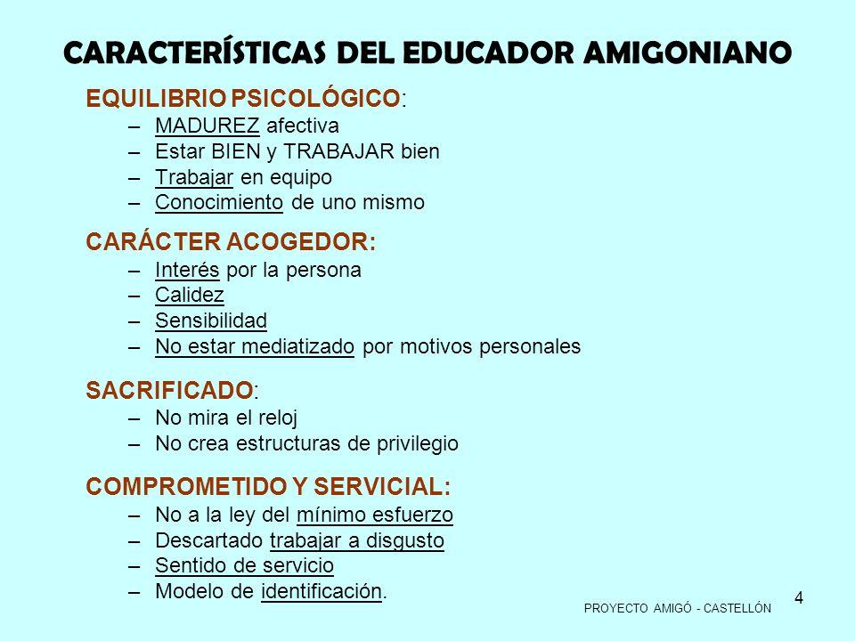CARACTERÍSTICAS DEL EDUCADOR AMIGONIANO