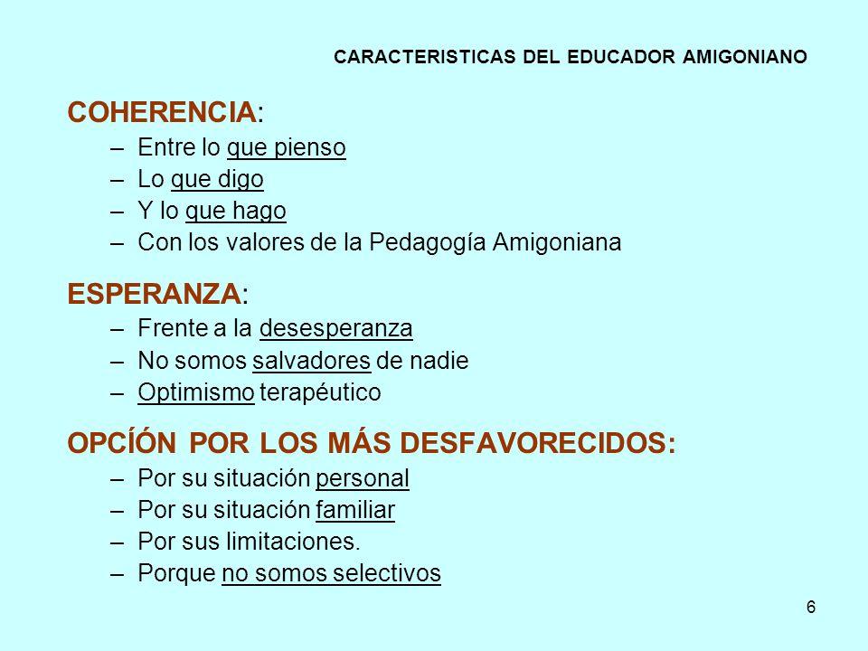 CARACTERISTICAS DEL EDUCADOR AMIGONIANO