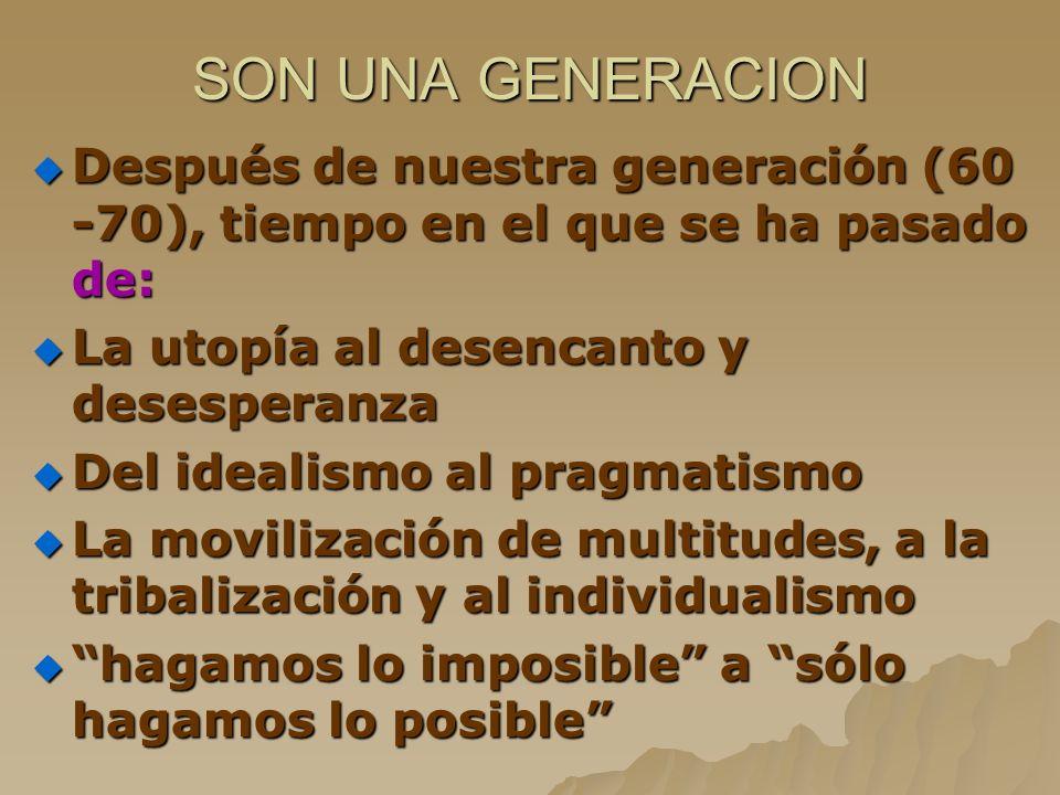 SON UNA GENERACION Después de nuestra generación (60 -70), tiempo en el que se ha pasado de: