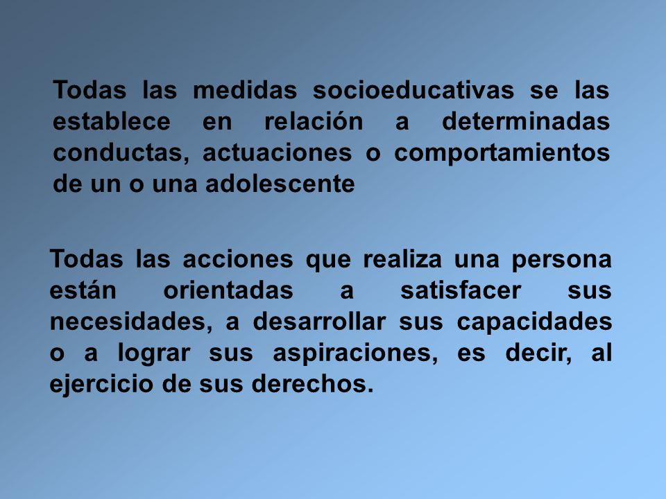 Todas las medidas socioeducativas se las establece en relación a determinadas conductas, actuaciones o comportamientos de un o una adolescente