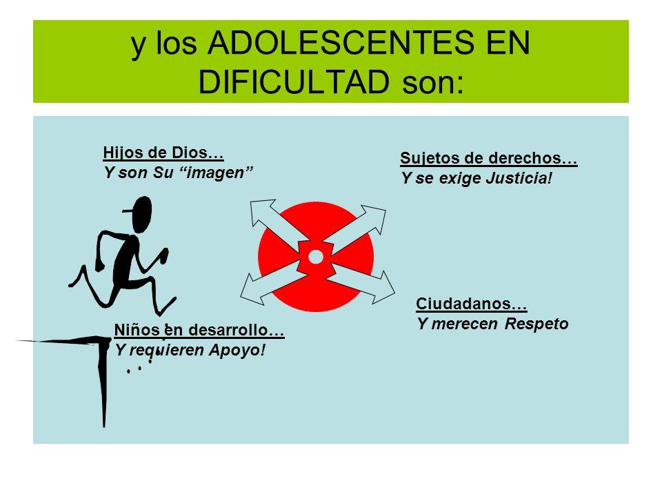y los ADOLESCENTES EN DIFICULTAD son:
