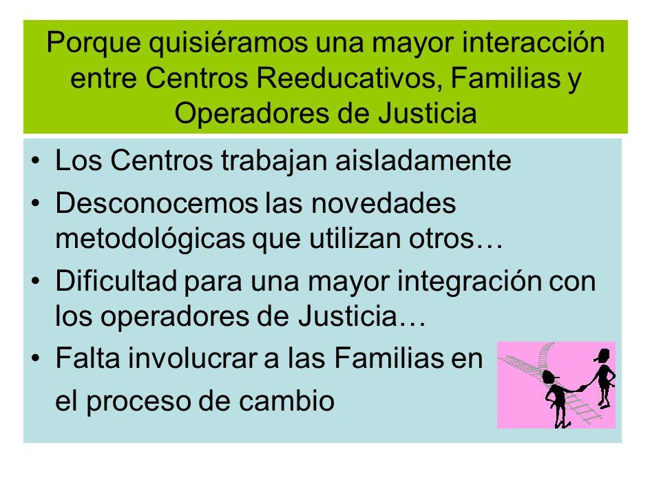 Porque quisiéramos una mayor interacción entre Centros Reeducativos, Familias y Operadores de Justicia