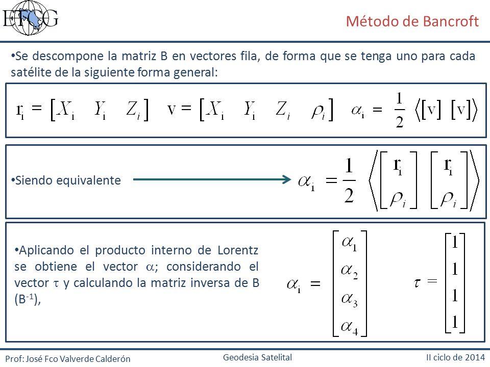 Método de Bancroft Se descompone la matriz B en vectores fila, de forma que se tenga uno para cada satélite de la siguiente forma general: