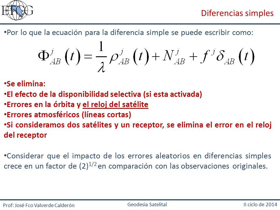 Diferencias simples Por lo que la ecuación para la diferencia simple se puede escribir como: Se elimina: