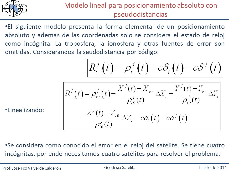 Modelo lineal para posicionamiento absoluto con pseudodistancias