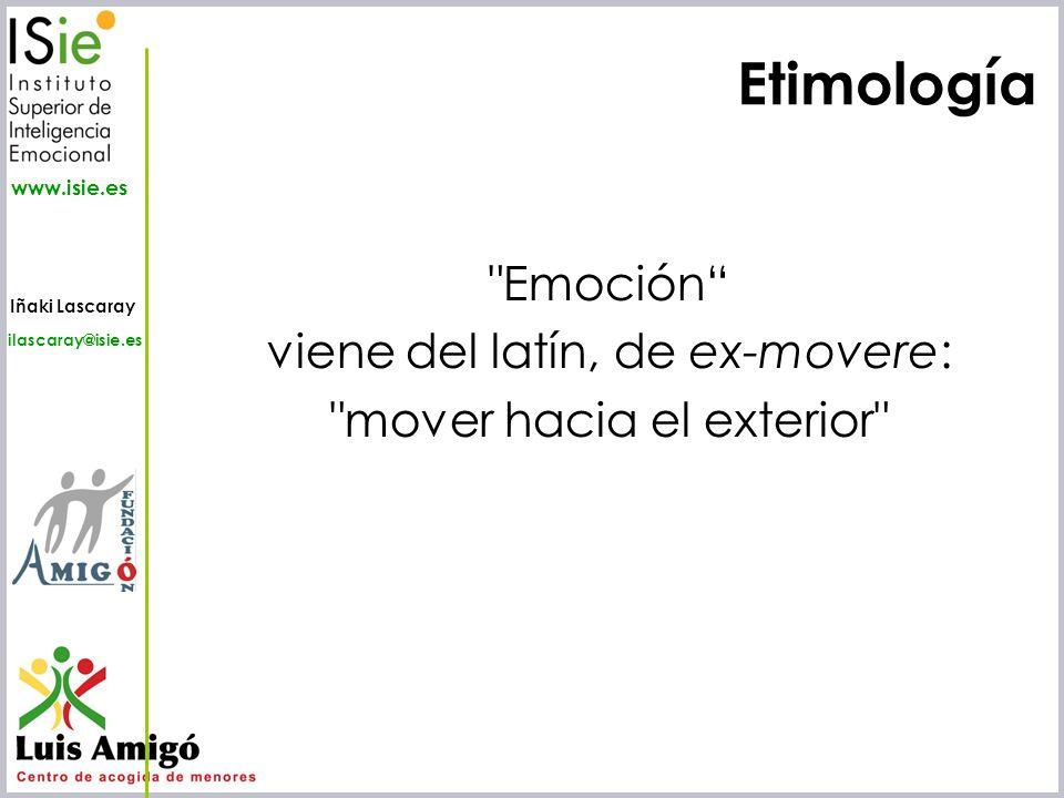 Etimología Emoción viene del latín, de ex-movere: