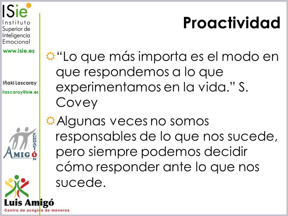 Proactividad Lo que más importa es el modo en que respondemos a lo que experimentamos en la vida. S. Covey.