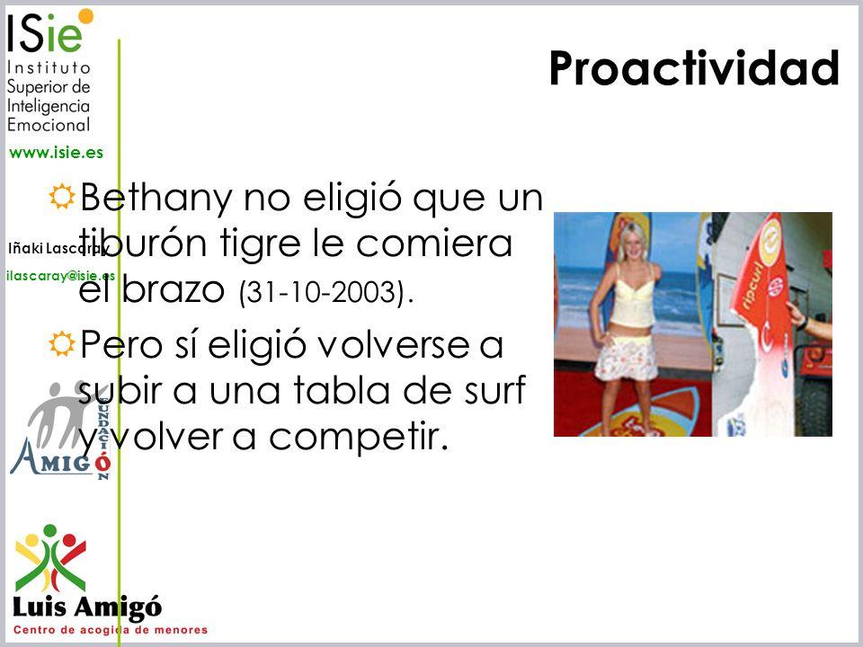 ProactividadBethany no eligió que un tiburón tigre le comiera el brazo (31-10-2003).