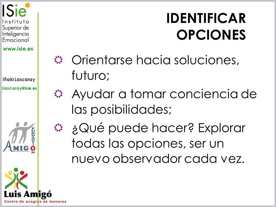 IDENTIFICAR OPCIONES Orientarse hacia soluciones, futuro;